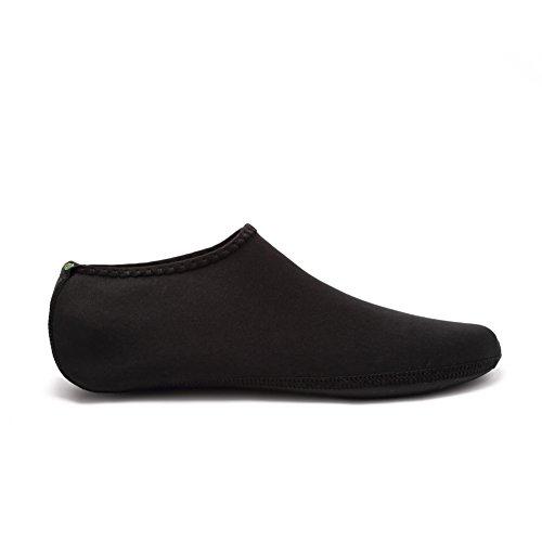 Equick Eau Chaussettes Durable Aqua Palmes Pieds Nus Chaussures Nouvelle Version Mise À Jour Taille Plage Piscine Nager Surf Yoga Exercice 3 Noir