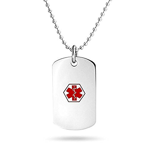 Bling Jewellry Enamel Diabetic Medical Alert ID Dog Tag Necklace 19in Steel For Women Girls