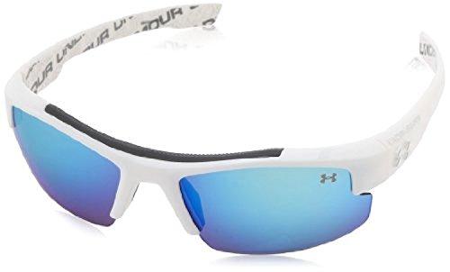 UA Nitro L Kids' Shiny WHT / UA Wordmark (Interior) w/ GRY w/ BLU Mirror & - For Sunglasses Armour Kids Under