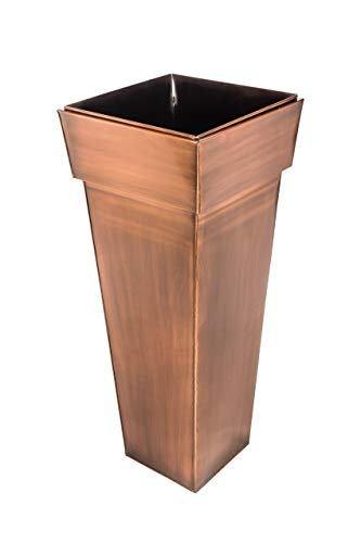 H Potter Tall Square Planter - Stainless Steel w/Antique Copper Finish, Indoor & Outdoor Garden Pot & Plant Box Holder for Succulent Flowers & More, 36.5