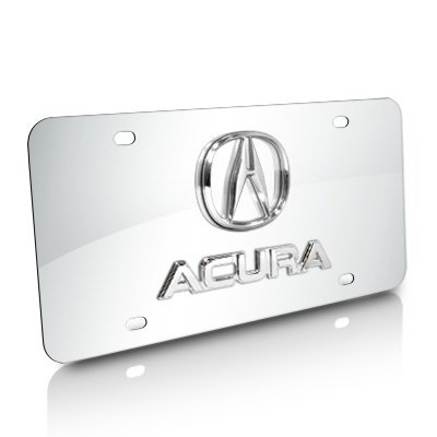 Acura 3D Logo and Nameplate Chrome Stainless Steel License Plate