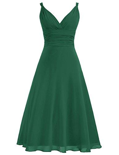 Mousseline Cdress Longue De Thé Longueur Robes De Demoiselle D'honneur V-cou Soir Robe De Bal Robes Formelles Dark_green