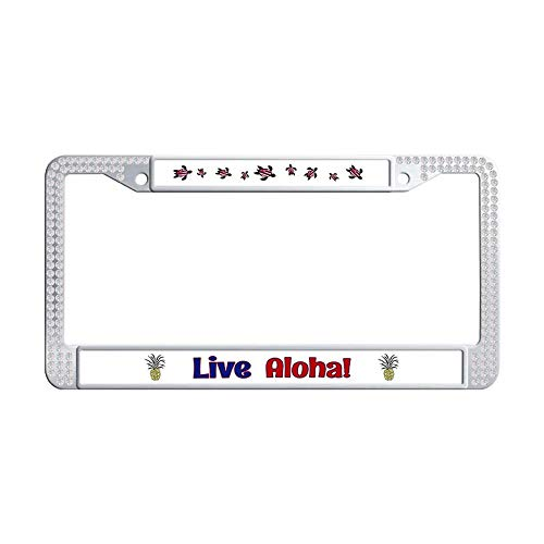 Nuoyizo Live Aloha White Shining Rhinestones Car Plate Frame Personalized Bling Crystal Waterproof Stainless Steel Metal Car License Plate Holder