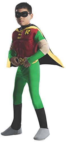 [Deluxe Muscle Teen Titan Robin size Large 12-14] (Kids Batman And Robin Costumes)