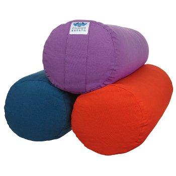 CalmingBreath Yoga Bolster Nackenkissen, rund - aus Baumwolle, mit Buchweizen gefüllt