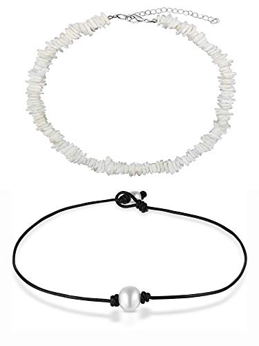 Puka Shell Natural Pearl Chips - COMMINY Natural Puka Shell Necklace Choker with Pearl for Women Girls, Handmade Adjustable Hawaiian Seashell Necklace Boho Beach Jewelry for Summer Vacation