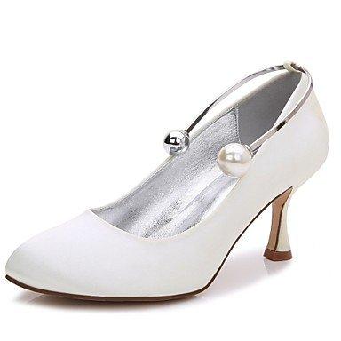 El mejor regalo para mujer y madre Mujer Zapatos Satén Primavera Verano Confort Pump Básico Zapatos de boda Tacón Kitten Tacón Bajo Tacón Stiletto Dedo redondo Perla Perla , us9.5-10 / eu41 / uk7.5-8