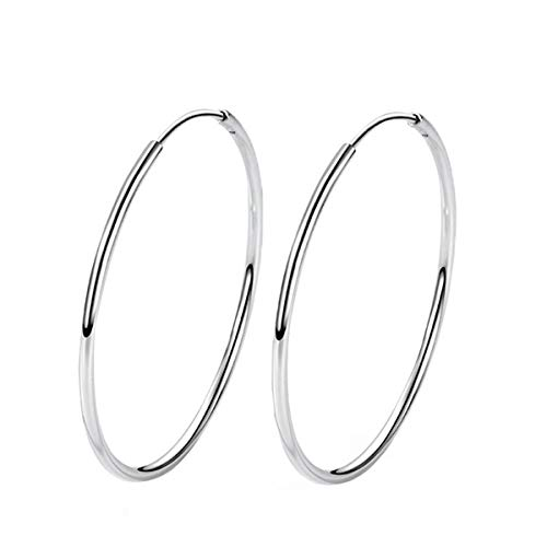 (T400 925 Sterling Silver Hoop Earrings Large and Small Thin Lightweight Hoops ♥ Birthday Gift for Women 25 35 40 45 50 55 60 65)