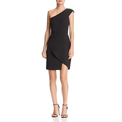 BCBG Max Azria Womens Aryanna One-Shoulder Mini Cocktail Dress Black 4