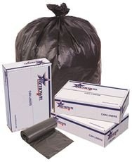 RENOWN GIDDS-2478857 Renown Trash Can Liners, Black, 43 x 48, 22 Mic, 25 Liners Per Roll, 6 Rolls Per Case
