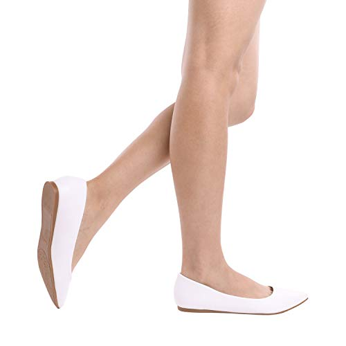 Women's Shoes Pu Casual DREAM Pointed Slip Fancy PAIRS Sole Classic Soft On White Toe Flats Comfort Ballet IqIx4H6Bwa