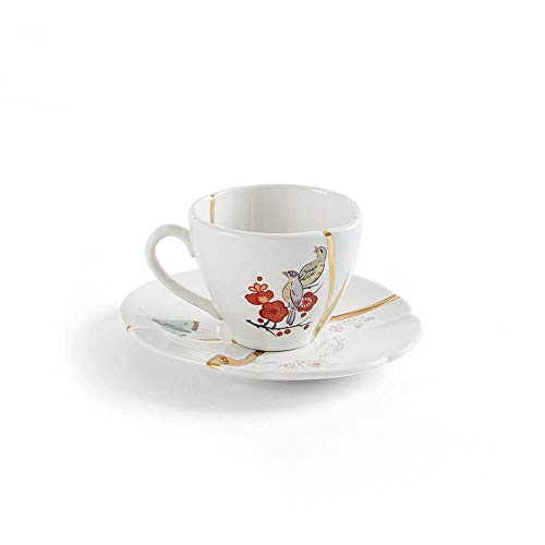 24k Saucer Gold - Seletti Kintsugi coffee cup with saucer in porcelain and 24 carat gold mod. 2