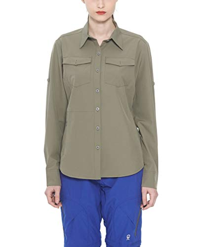 Little Donkey Andy Womens Stretch Quick Dry Water Resistant Outdoor Shirts UPF50+ for Hiking, Travel, Camping Sage Size XL