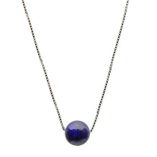 Round 10mm Blue Lapis Stone Station Sterling Silver Box Chain Necklace 16