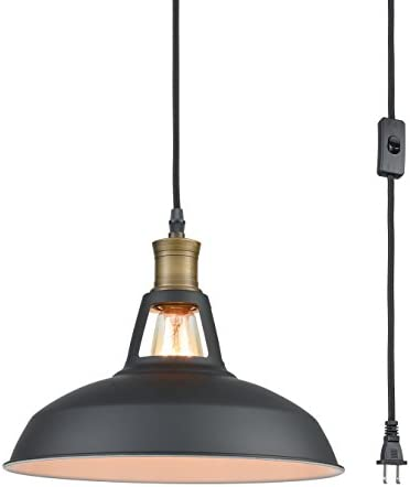 YOBO Lighting Industrial Plug-in Pendant Light with 9.8 Ft Cord and On Off Switch