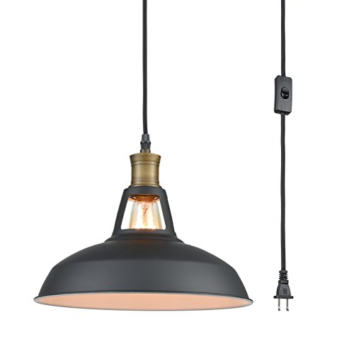 YOBO Lighting Industrial Plug-in Pendant Light with 9.8 Ft Cord and On/Off ()