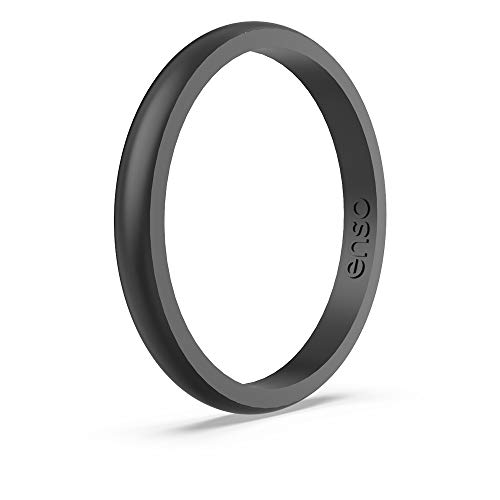 Enso Rings Halo Elements Silicone Ring | Made in The USA | Infused with Precious Elements | Lifetime Quality Guarantee | Comfortable, Breathable, and Safe (Black Pearl, 8)