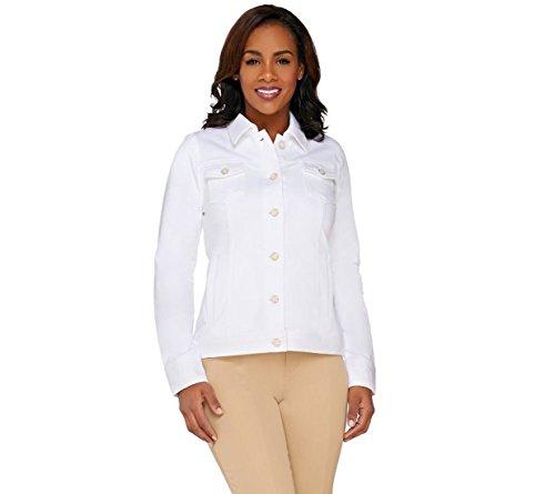 White Eyelet Jacket (Isaac Mizrahi Timeless Soft Knit Denim Jacket Eyelet Solid White L # A262841)