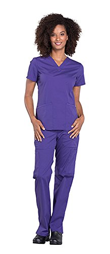 Cherokee Workwear Professionals Women's V-Neck Top WW665 & Women's Pull-On Cargo Pant WW170 Scrub Set (Grape - Medium/Large)