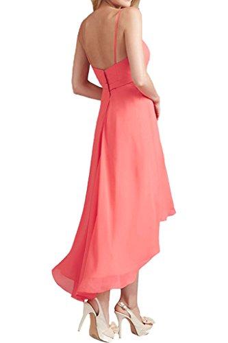 Promgirl House Damen Glamour Traeger A-Linie Chiffon Abendkleider Ballkleider Cocktail Brautjungfernkleider Lang-42 Orange