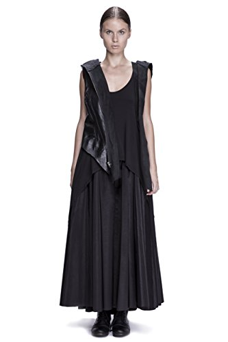 Asymmetrical Hooded Draped Leather Vest by Corvus + Crux