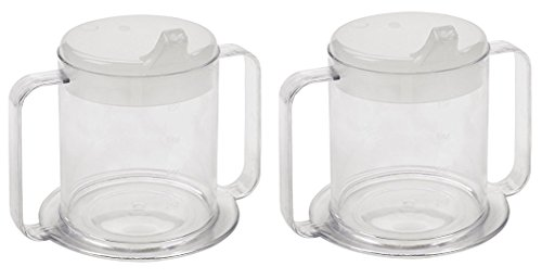 Independence 2-Handle Plastic Mug with 2 Style Lids, Lightweight Drinking Cup with Easy-to-Grasp Handles for Hot & Cold Beverages, Spill-Resistant Adult Sippy Cup (2) -