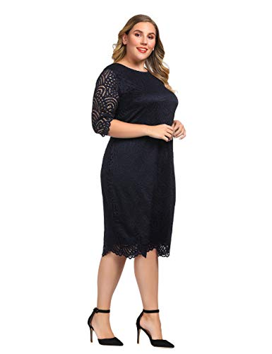 Plus Size Dress Knee Length with Scalloped Hem and Cuff