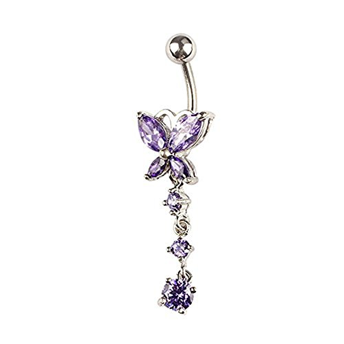 Black Ring Belly Butterfly (Start Butterfly Crystal Rhinestone Ring Body Dangle Ball Belly Button Navel Ring (Purple))