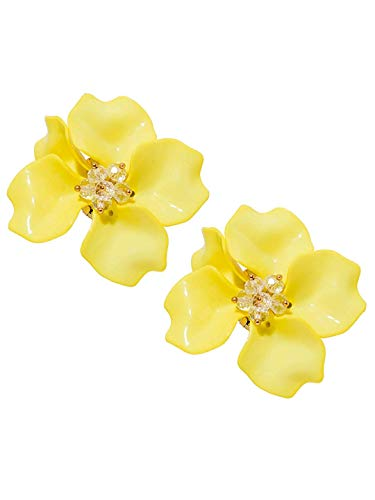 Floral Stud Earrings for Girls and Women Casual and Party Wear Fashion Jewelry by Pipa●Bella (Yellow) ()