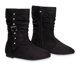 Amazon.com | Girls Suede Flat Boots with Buckle and Gems | Boots