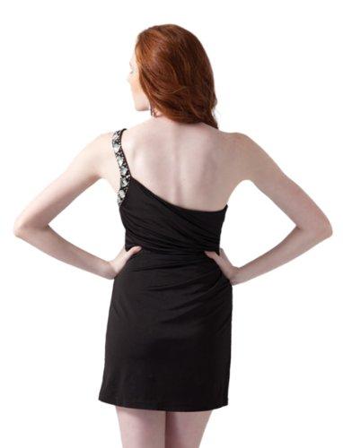 Clarisse Prom Dress Short Stretch 1610 Shoulder One Jersey Rhinestone Black F6OATrwqF