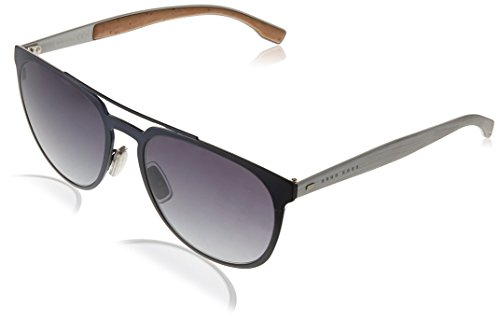 BOSS by Hugo Boss Men's B0882s Aviator Sunglasses, MATTE BLUE/GRAY GRADIENT, 57 ()