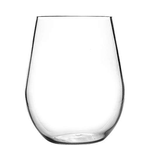 20oz Stemless Wine Glasses Set of 4 Clear Plastic Cups Drinking Tumblers for Red or White Wine