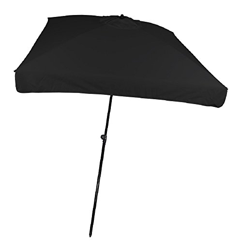 9' Black Square Mariner Europeon Style Market Vented Umbrella With Tilt by TROPICAL