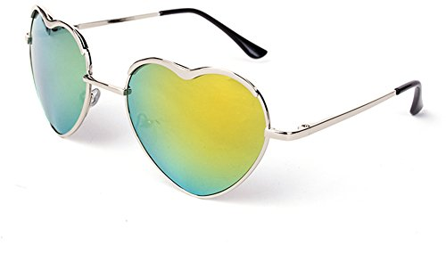 SOOLALA Womens Thin Metal Heart Shaped Frame Cupid Sunglasses w/ Pouch, - Shaped Sunglasses Heart Designer