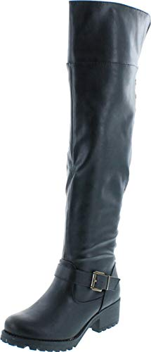 Womens Bamboo Capture-04 Side Stud Riding Boots,Black,7.5