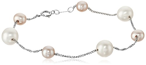 [14k White Gold 5-5.5mm and 7-7.5mm Multicolor Pink and White Cultured Freshwater Pearl Tin Cup Bracelet] (Twist Multi Color Freshwater Pearl)