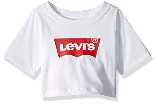 Levi's Girls' Big Cropped Batwing T-Shirt, White/Red, L