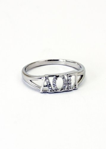 Alpha Omicron Pi Sterling Silver Ring set w/ Czs 7.0