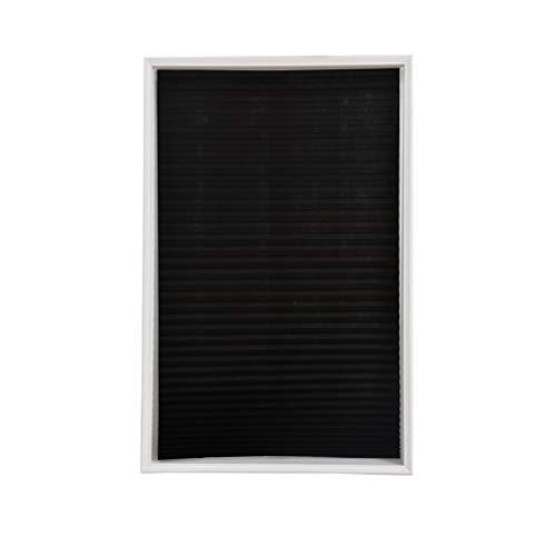 Yunzee Blackout Pleated Shade Blinds Horizontal Window Curtain Fabric Room Darkening Roller Shades,Black,60150