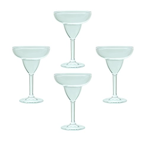 QG 12 Ounce Clear Acrylic Plastic Margarita Glass Set of (Acrylic Margarita Glasses)