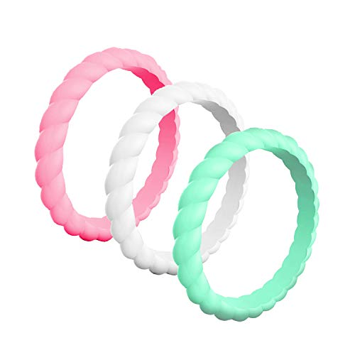 Women's Silicone Wedding Ring - Braided Engagement Rings - Rubber Sports Workout Bands - Flexible Comfortable Durable Ring Replacement, 3 Pack/Size 6 - Pink, Mint & White