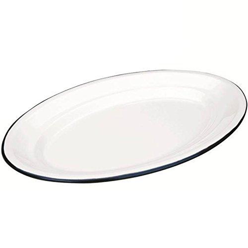 IBILI Servierplatte Blanca, oval, Stahl, weiß/blau, 30 x 20 x 9 cm