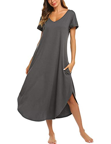 luxilooks Nightgowns Women Side Split Pockets Summer Ladies Soft Sleepwear V-Neck Cotton Maxi Dress(Dark Grey, Small)