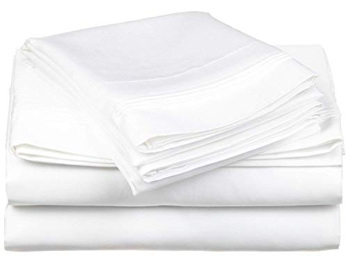 (HS Linen Flat Sheet Genuine HOTEL QUALITY 100% Egyptian Cotton 600 Thread Count 1 Piece Flat Sheet (Top Sheet) Available In Many Attractive Solid Colors (White) King Size)