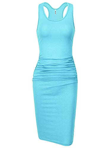 Missufe Women's Sleeveless Racerback Tank Ruched Bodycon Sundress Midi Fitted Casual Dress (Light Blue, Small)