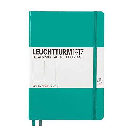 Leuchtturm1917 Medium A5 Plain Hardcover Notebook (Emerald) - 249 Numbered Pages ()