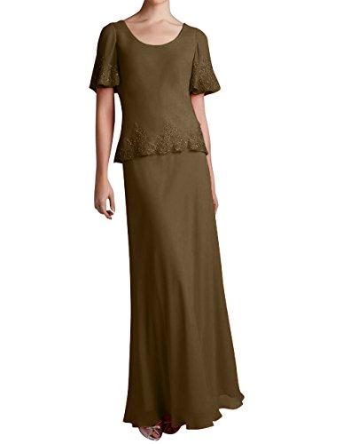 Bodenlang Applikation Promkleider La Braun Damen Spitze Marie mit Brautmutterkleider Braut Chiffon Abendkleider q7Z0ORS