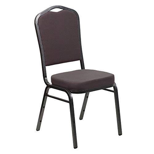 Offex OF-FD-C01-SILVERVEIN-GY-GG Hercules Series Crown Back Stacking Banquet Chair with Gray Fabric and 2.5'' Thick Seat, Silver Vein Frame