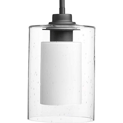Progress Lighting P500018-143 Double Glass One-Light Mini-Pendant, Graphite